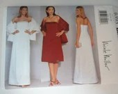 Vintage Butterick Nicole Miller #6393 Sewing Pattern - Sizes 12 14 16  - Misses Formal Sleeveless Long Floor Length Dress Pattern with Wrap