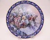 "1992 W.S. George Lena Liu Basket Bouquet series ""Pansies"" Limited Edition Collector Plate"