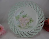 Vintage Hand Painted Floral Lattice Reticulated Plate Signed by Artist Ruth Smith
