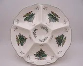 Large Vintage Spode Christmas Tree Made in England Hors D'Oeuve Tray