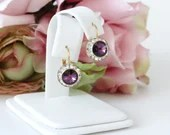 Beautiful Amethyst and Rhinestone Pierced Earrings on a Gold Tone Setting - Pretty Purple Earrings