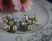Vintage Pearl and Bead Clip Earrings with Goldtone Accents Pretty Blue and Green Bead Earrings - Pretty Pearl Earrings