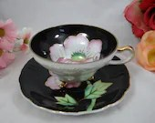1950s Hand Painted Raised Gold Outline Pink Flower Footed Teacup and Saucer Set Stunning Outstanding black Tea Cup