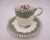 """Rare Vintage Royal Worcester English Bone China """"Pillament"""" Demitasse Cappuccino Espresso Green Teacup and Saucer Set - 2 Available"""