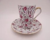 1950s Lefton Japan Pink Rose Chintz Tall Coffee Cappuccino Cup Teacup and Saucer Set