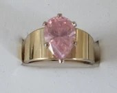 Vintage Pink Pear Baguette Rhinestone Ring on a Gold Tone Setting Modern Minimalist Style Size 8 Gift for Her
