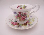 Vintage Royal Albert English Bone China  Flower Basket Teacup and Saucer set Delightful English Teacup ROA32