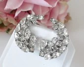 Glamorous Vintage Clear Faceted Rhinestone Clip Earrings on a Silver Tone Setting - For a Bit of Bling in your wardrobe