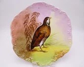 """1906 to 1920 Vintage Factory Decorated Limoges France Coronet Borgfeldt Game Bird Plate Signed """"Max"""""""