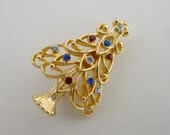 Eisenberg Ice Christmas Tree Brooch Pin with Multi-Colored Rhinestones on Gold Tone Setting