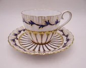 Spectacular Vintage Royal Chelsea English Bone China Blue and Gold Ribbed Teacup and Saucer set Blue Tea Cup Set 734A