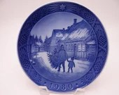 "Royal Copenhagen 1980 Christmas Plate ""Bring Home the Christmas Tree"""