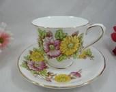 Vintage Victoria C&E English Bone China Hand Painted Chrysanthemum English Teacup and Saucer Tea Cup