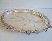 Vintage Silverplate Footed Meat Tray with Ornate Chased Edge a Lovely Piece for Elegant Serving