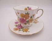 Vintage Royal Winchester English Bone China Chrysanthemum Floral Bouquet Teacup and Saucer Set Lovely English Tea Cup