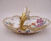 c1894 Antique Vintage Hand Painted Factory Decorated Martial Redon Limoges France Gilded Hand Tray or Dish
