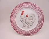 """Vintage Haldon Group """"Devonshire"""" White Rooster and Chicken Plate"""