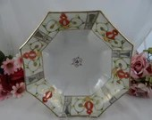 1930s Vintage Bibi Japanese Hand Painted Moriage Eight Sided Octagon Bowl - Charming Fruit Bowl