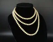 "Cream Vintage Faux Pearl Necklace Long Beautiful and Elegant Great Gatsby Style Pearls Vintage Retro Modern Pearl Necklace - 55"" Long"