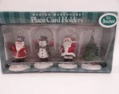 Boston Warehouse Bouncy Christmas Santa Snowman and Tree Menu Place Card Holders in Original Box - Santa Snowman
