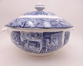 "Vintage Liberty Blue Historic Colonial Scenes Blue and White Tureen with Lid Casserole ""Boston Tea Party"""