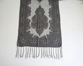 "Lovely Vintage Silver Gray Damask Sheer Scarf with Sparkly Accents and Fringe Approximately 60"" long by 19.5"" wide"