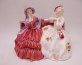 "Vintage English Bone China Royal Doulton Figurine HN 2025 ""The Gossips"" Figurine Retired - 2 Available"