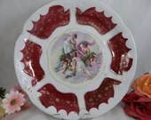 """Large 12"""" Victorian Cabinet Plate or Bowl ready for hanging"""