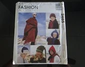 McCall's #2485 Fashion Accessory Pattern for Hats Scarfs Gloves and Shawls Pattern for Hooded Scarf Cape Uncut Unused