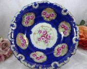 Vintage Antique Japanese Hand Painted Cobalt Blue Fruit Bowl  - Stunning