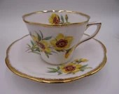 Vintage English Rosina English Bone China Yellow Daisy Teacup and Saucer English Tea Cup