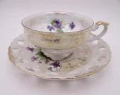 Vintage 1950s Marco Japanese Lusterware Purple Violet Lattice Reticulated Teacup and Saucer Lovely Tea Cup
