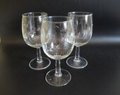 "3 Vintage Crystal Etched Wine Glasses Goblets a 6-3/8"" Tall Etched Glass Wine Glass - Elegant Stemware"