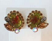 Vintage Red Green Gray and Champagne Rhinestone Clip Earrings on a Gold Tone Setting - Classic and Elegant Mid Century Earrings