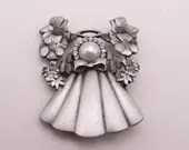 Vintage Signed and Stamped Jane Pewter Angel with Faux Pearl Face and Rhinestone Halo - Simple and Elegant Angel Brooch