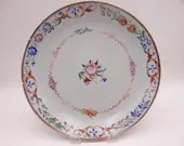 c 1700s Antique Chinese Soft Paste Porcelain Hand Painted Pink Rose Serving Bowl or Plate