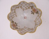 1900s Antique Hand Painted Nippon Gold Beaded Pink Rose Finger or Sauce Bowl