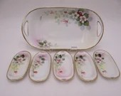 Spectacular 1900s Antique Vintage Hand Painted Nippon Gold Outlined Floral Celery/Sushi Dish and Matching Salt Cellar Set