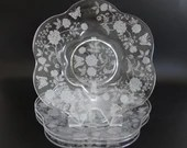 """Four Vintage Duncan & Miller Charmaine Rose Canterbury Shape Luncheon Plates with Butterfly and Roses a Hard to Find Pattern - 9"""" Plate"""