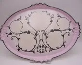 1890s Antique Limoges France Large Oval Pink and Silver Overlay Serving Tray - Simply Stunning