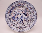 1860s Hand Painted Antique F C Greiner Rauenstein Meissen Germany Hand Blue and White Ribbed Soup Bowl - BL1