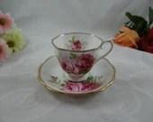 "1940s Royal Albert English Bone China ""American Beauty""  Teacup and Saucer Set  - Stunning English Tea Cup"