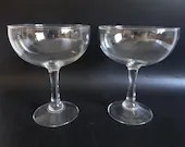 Two Vintage Clear Glass Large Size Margarita Glasses - 8 Ounce Margarita Glass