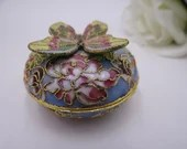 Vintage Butterfly Cloisonne Trinket Box or Pill Box Ring Box