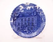 "Vintage Liberty Blue Historic Colonial Scenes Blue and White Coaster ""Tavern"" -  3 available"