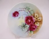 Vintage Thomas Sevres Hand Painted Red Rose Plate Lovely