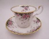 "Vintage English Bone China Royal Albert Royal Choice Series ""Balmoral"" Teacup and Saucer Set Cute English Tea Cup"