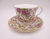 1970s Royal Cuthbertson English Bone China Red Rose Chintz Teacup and Saucer classic English Tea cup