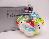 """Rare Vintage Kurt Adler Polonaise Hand Blown Glass Snowman Christmas Ornament """"Snowtown Family"""" in Original Box AP 1077 - So Cute"""