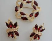 Vintage Coro Red Marquis Brooch and Earring Set on Gold Tone Setting - a Lovely Corocraft Demi Parure Set
